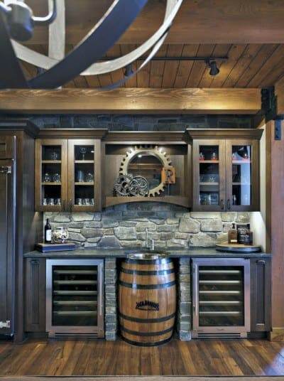 Wet Bar Rustic Basement Ideas