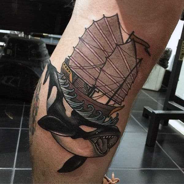 Whale With Sailing Ship On Back Guys Lower Leg Tattoo Designs