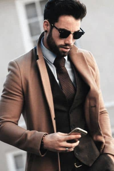 What To Wear Fall Outfits Mens Styles Tan Coat With Dress Shirt And Brown Tie