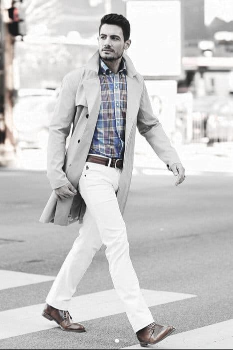What To Wear White Jeans Great Outfits Styles For Men Plaid Shirt Tan Coat
