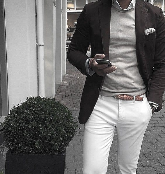 What To Wear With Awesome White Jeans Outfits Styles For Men Dark Blazer Grey Sweater