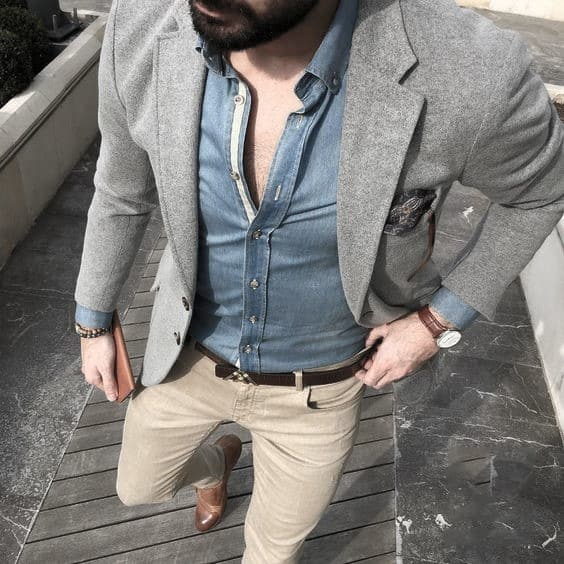 What To Wear With Gentlemens Khaki Pants Outfits Style Ideas Grey Blazer Brown Shoes