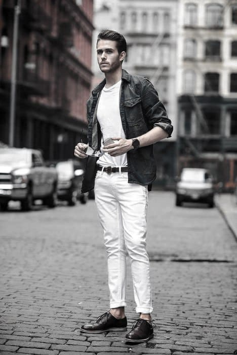 What To Wear With Guy With Sharp Looking White Jeans Outfits