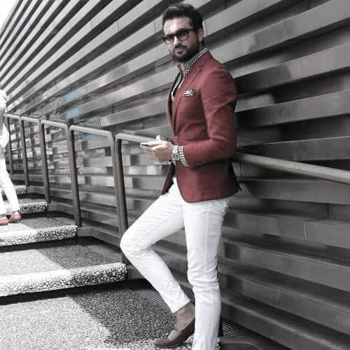 What To Wear With White Jeans Outfits For Men Red Blazer And Dress Shirt