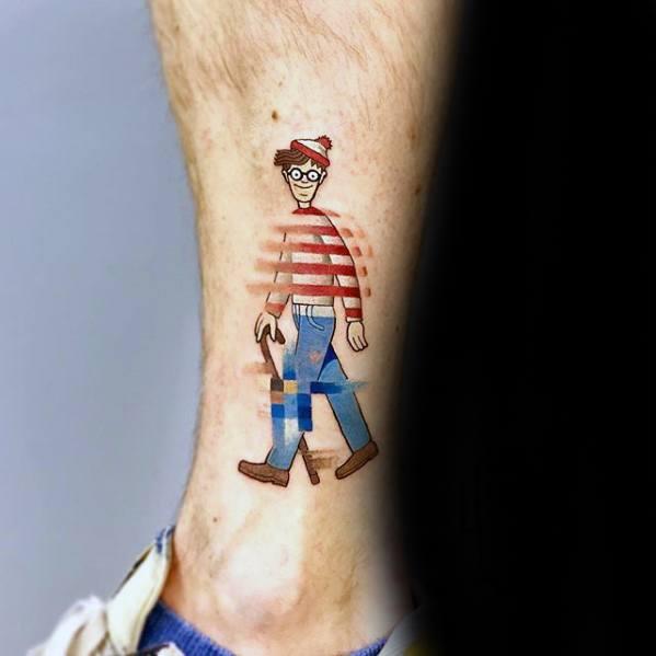 Wheres Waldo Side Of Lower Leg Mens Manly Pixel Tattoo Designs