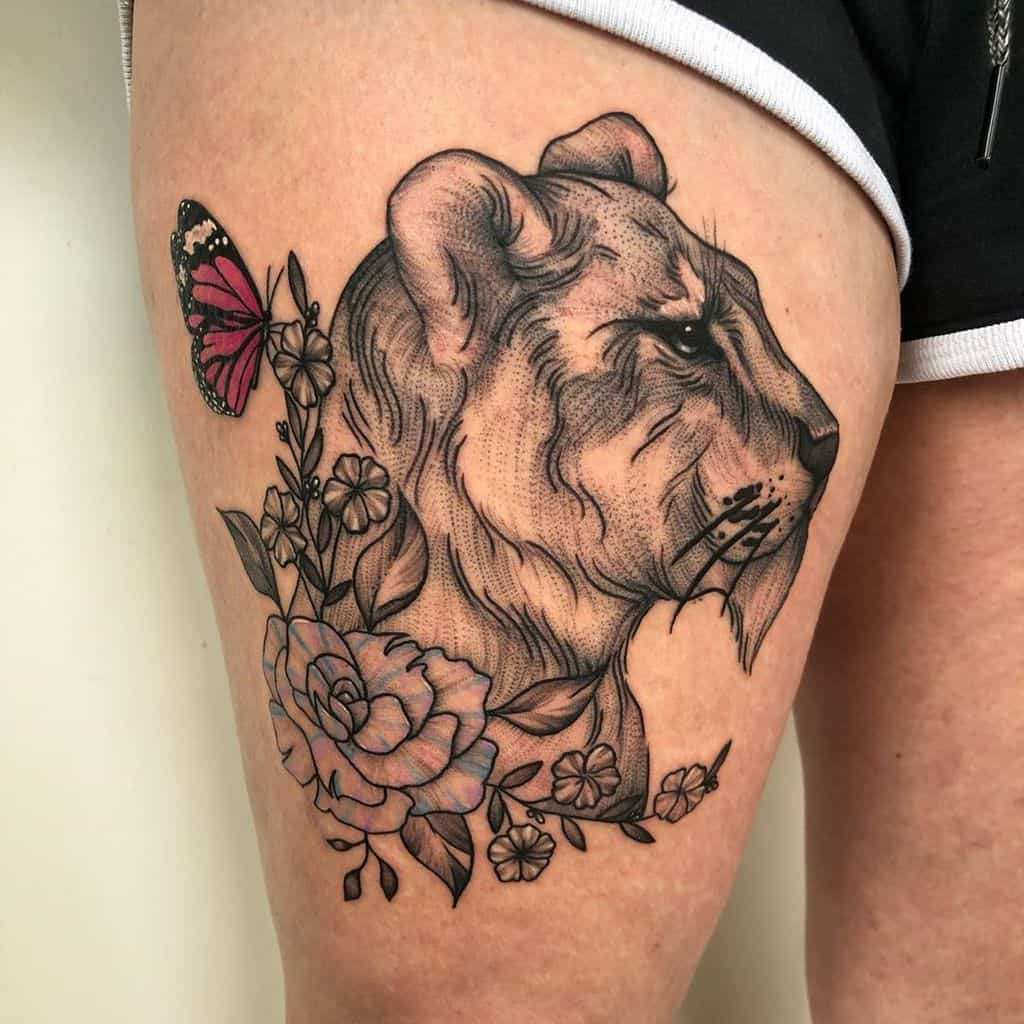 Whip Shading Butterfly Rose Ink Tattoo