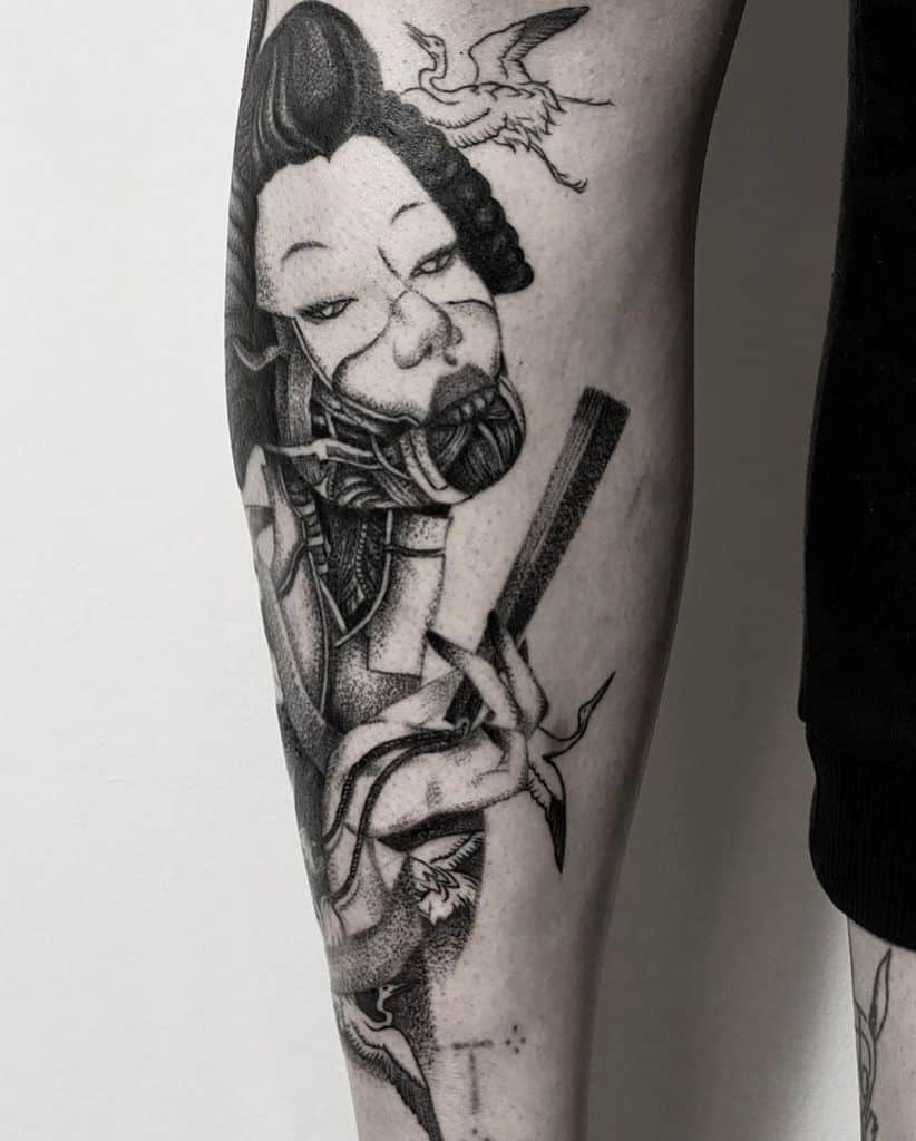 Whip Shading Calf Geisha Tattoo