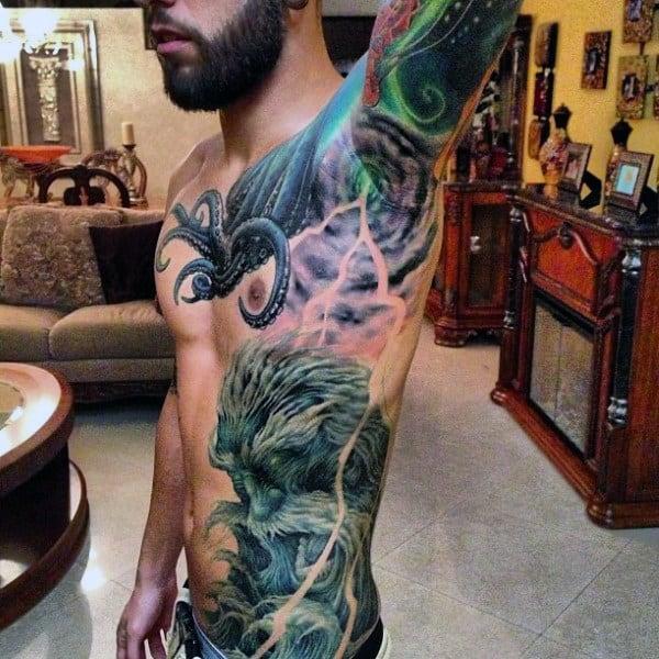 Whirlpool And Lightening Tattoo Male Armpit