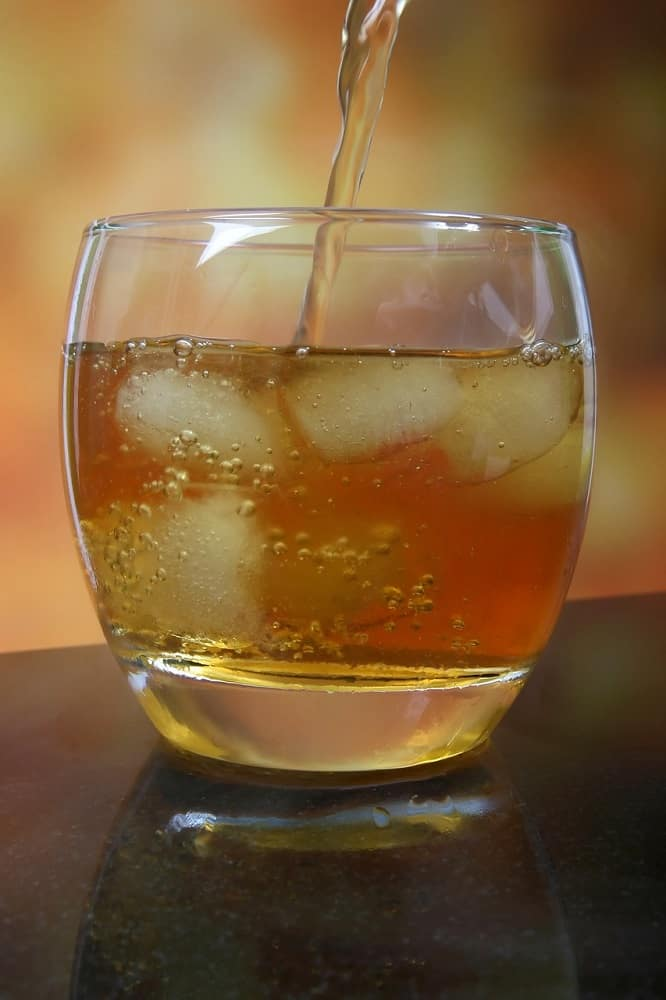 filling whiskey glass with ice closeup