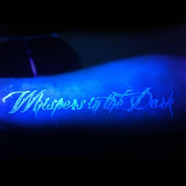 Whispers In The Dark Mens Uv Ink Black Light Tattoo On Inner Wrist