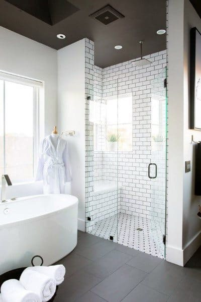 White And Black Ceiling Master Bathroom Ideas