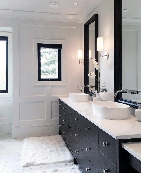 White And Black Excellent Interior Ideas Master Bathroom