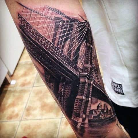White And Black Ink Brooklyn Bridge Skyline Male Forearm Tattoo