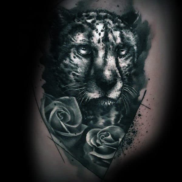 White And Black Ink Leopard With Rose Flowers Mens Tattoo Ideas