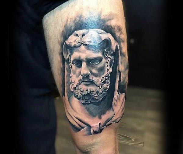 White And Black Ink Mens Hercules Thigh Tattoo