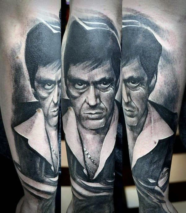 White And Black Ink Mens Scarface Outer Forearm Tattoos