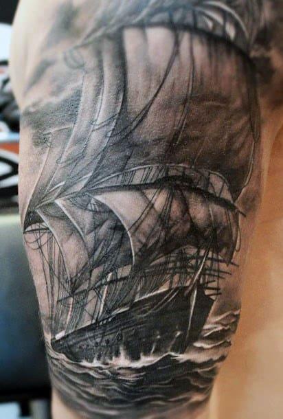White And Black Ink Nautical Guys Realistic Ship Tattoo Half Sleeve