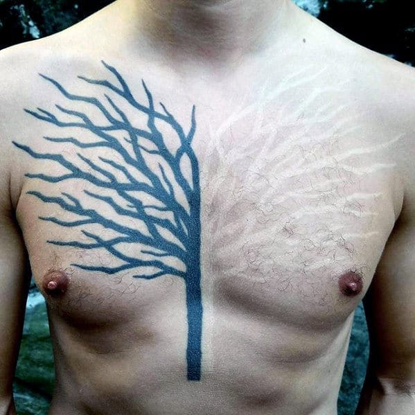White And Black Ink Tree Mens Badass Chest Tattoo