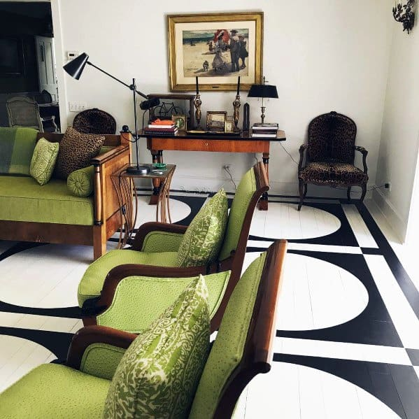 White And Black Living Room Painted Floor Interior Design