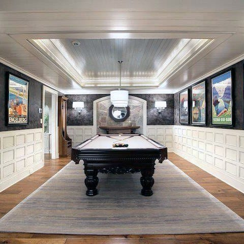 White And Black Luxury Billiards Room With Shiplap Trey Ceiling