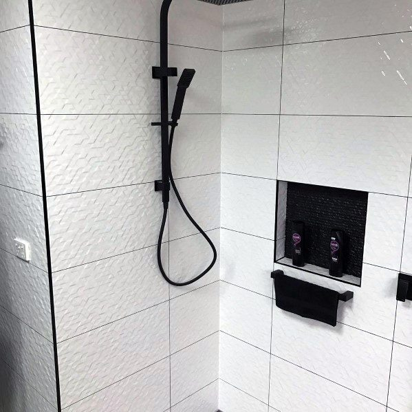 White And Black Modern Exceptional Shower Niche Ideas