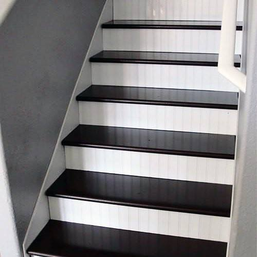 White And Black Painted Basement Stairs Design Idea Inspiration