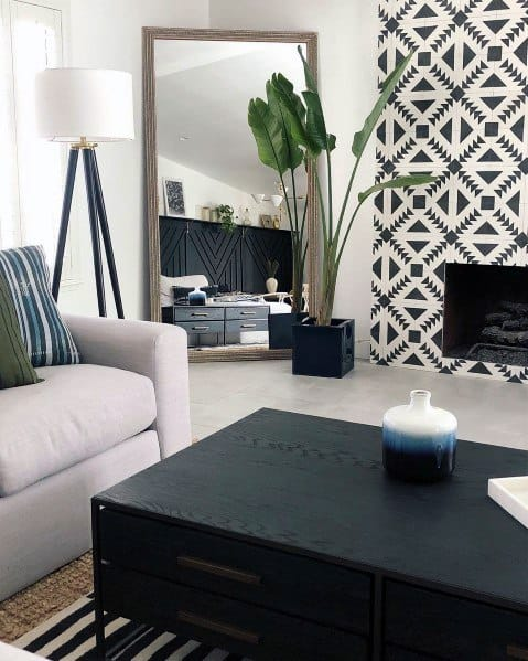 White And Black Pattern Fireplace Tile Ideas