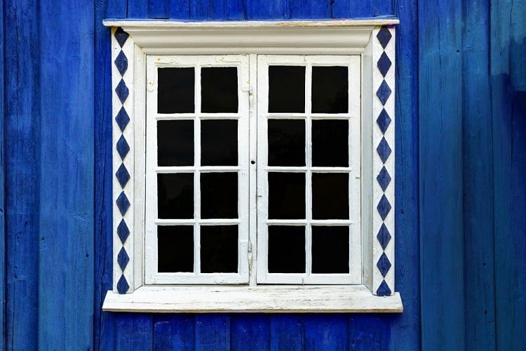 White And Blue Exterior Window Trim Crown Molding
