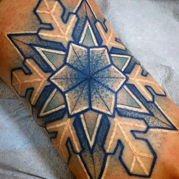 White And Blue Ink Snowflake Male Forearm Tattoos