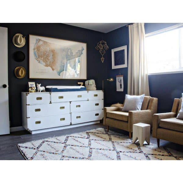 White And Blue Sitting Area Navy Bedroom