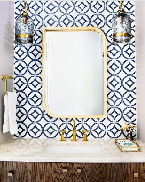 White And Blue Tiles Pattern Circle With Star Home Ideas Bathroom Backsplashs
