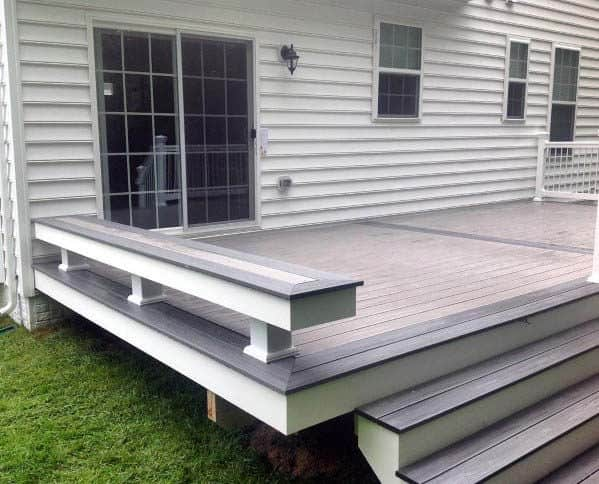 White And Brown Composite Deck Bench Traditional Design Ideas