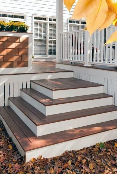 White And Brown Deck Steps Design Idea Inspiration