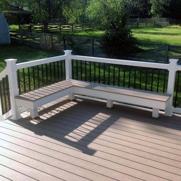White And Brown Designs Deck Bench
