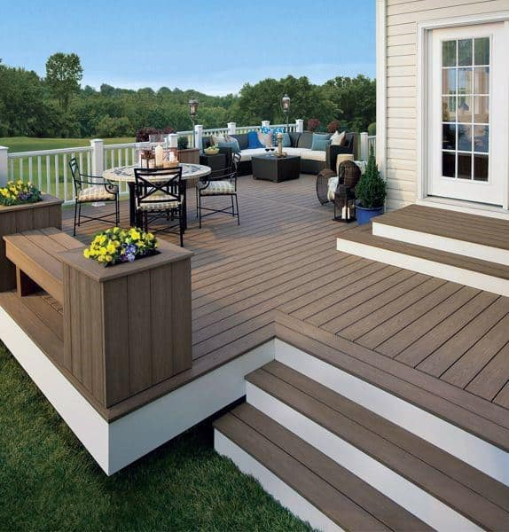 Backyard Deck White And Brown Simple Backyard Deck Ideas