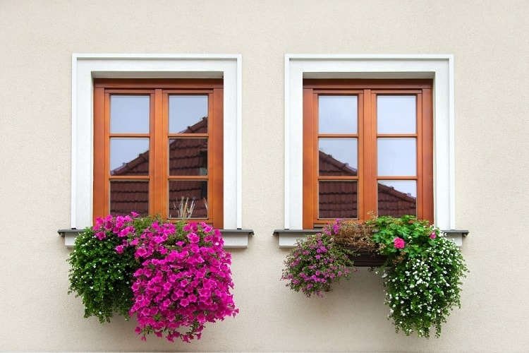 White And Brown Stucco Exterior Window Trim