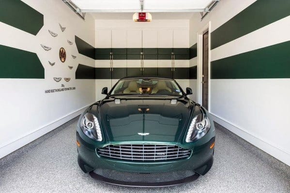 White And Green Stripe Interior Garage Walls