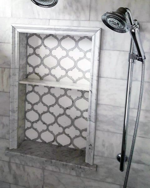 White And Grey Arabesque Tile Shower Niche Ideas