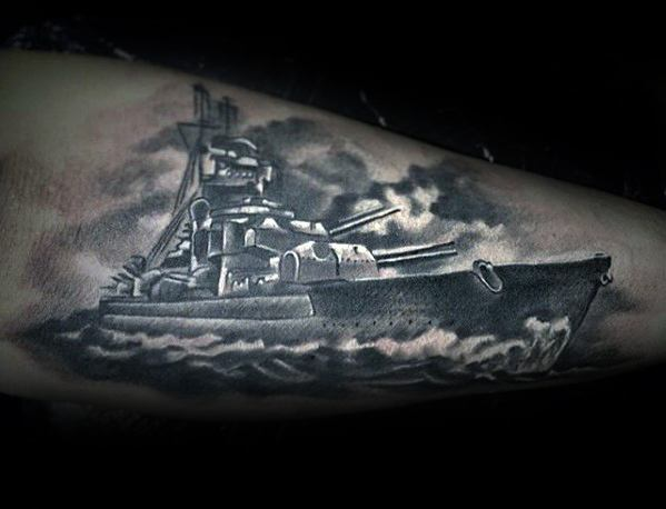 White And Grey Ink 3d Forearm Battleship Tattoo Ideas For Males