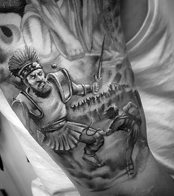 4d48dd780 White And Grey Ink David And Goliath Mens Half Sleeve Tattoos