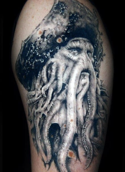 White And Grey Ink Shaded Arm Guys Tattoos With Davy Jones Design
