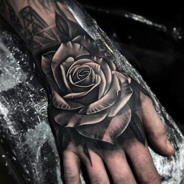 White And Grey Ink Shaded Guys 3d Rose Flower Hand Tattoo