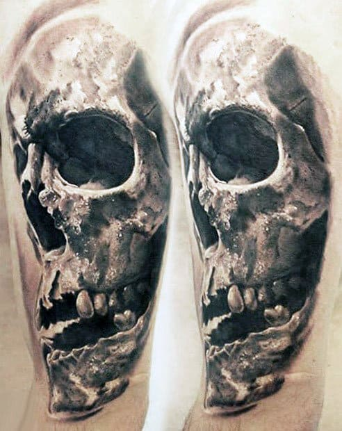 White And Grey Ink Shaded Guys Realistic Arm Tattoo