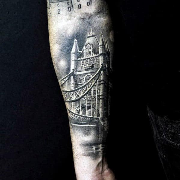 White And Grey Ink Shaded Male Bridge Outer Forearm Tattoos