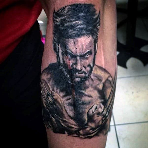White And Grey Ink Shaded Wolverine James Howlett Guys Tattoos