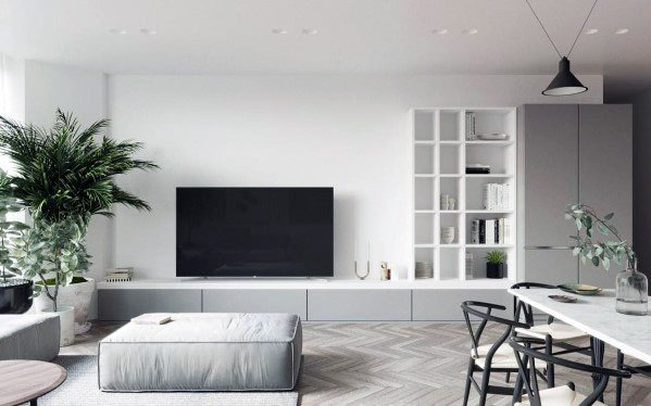 White And Grey Luxury Television Wall Ideas