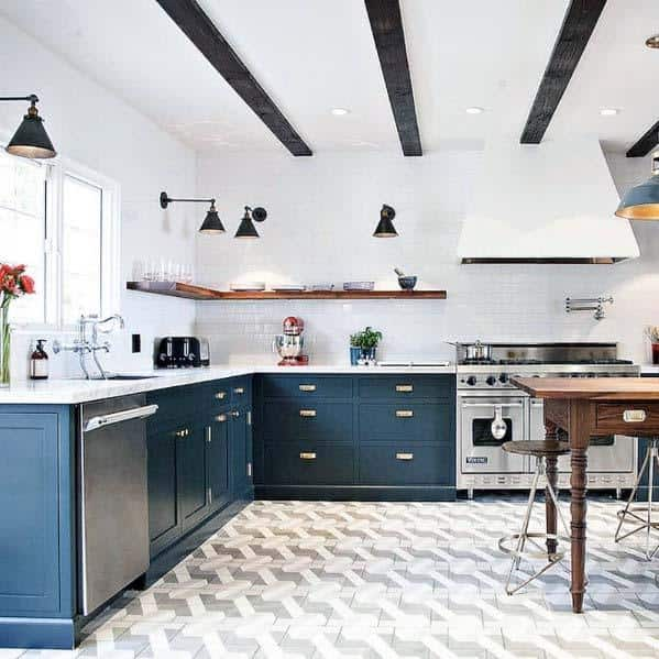 White And Grey Pattern Ideas For Kitchen Tile Floor Interior