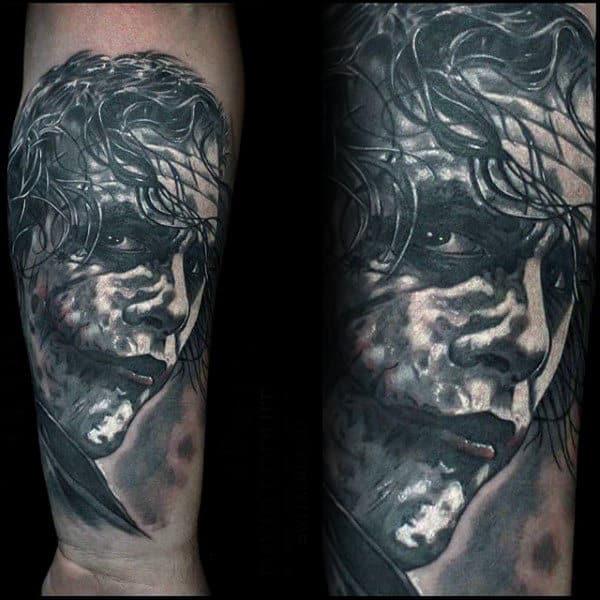 White And Grey Shaded Ink Mens Joker Inner Forearm Tattoos