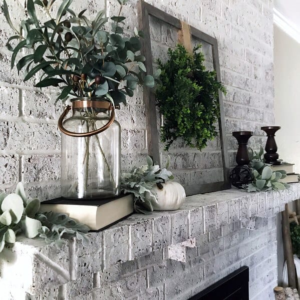 White And Grey Vintage Painted Fireplace Interior Design