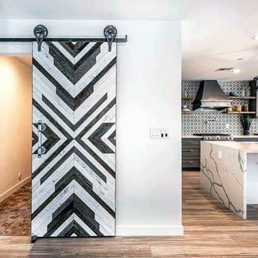White And Grey Wood Pattern Barn Door Ideas